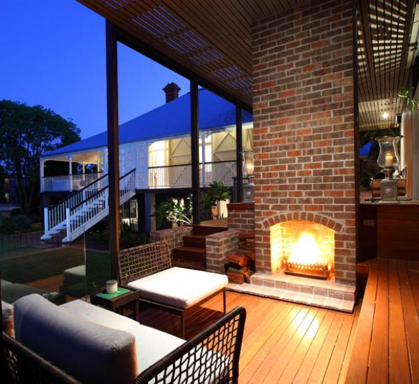 St Lucia Queenslander Outdoor Fireplace