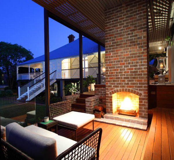 St Lucia Queenslander Outdoor Fireplace